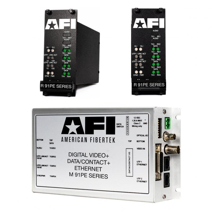 The American Fibertek 91PxxxxE Series transmits high-quality,on one optical fiber. Diagnostic indicators provide a quick visual indication of system status.