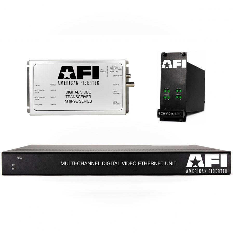 The American Fibertek 9P9E Series accommodates 2 ports of 10/100Base-TX Ethernet and 1 bi-directional contact closure channel on one singlemode optical fiber.