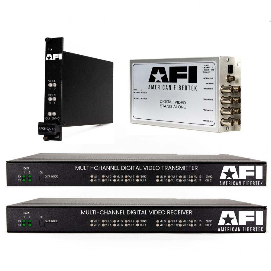 The American Fibertek 9X0C Series provides up to eight cyber-secure channels of digitized coax video transmitted up to 23 miles, over a single fiber!