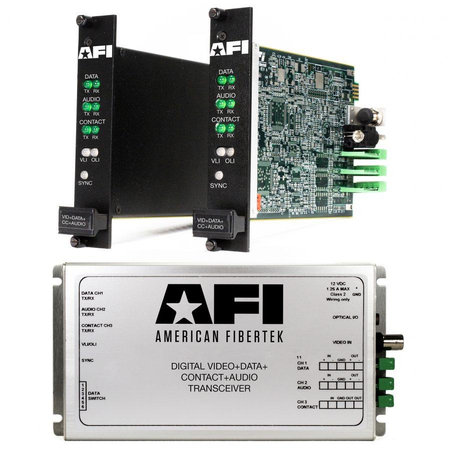 American Fibertek's Video+Data+Contact Closure+Audio Digital transceiver for all your security solution needs.